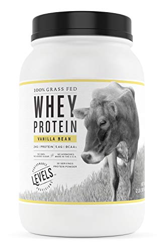 Levels 100% Grass Fed Whey Protein, No GMOs, Vanilla Bean, 2LB