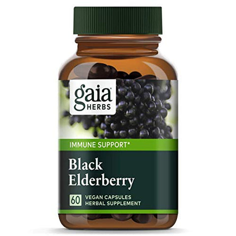 Gaia Herbs, Black Elderberry, Organic Sambucus Elderberry Extract for Daily Immune and Antioxidant Support, Vegan Powder Capsules, 60 Count