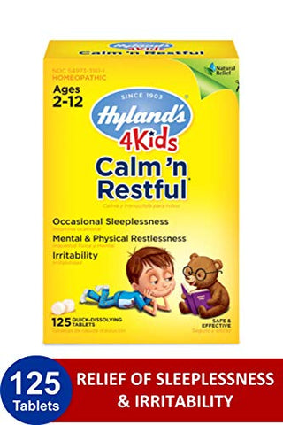 Kids Sleep Aid Tablets, Calm 'n Restful by Hyland's Kids, Natural Anxiety, Stress, and Insomnia Relief Supplement for Children, 125 Count