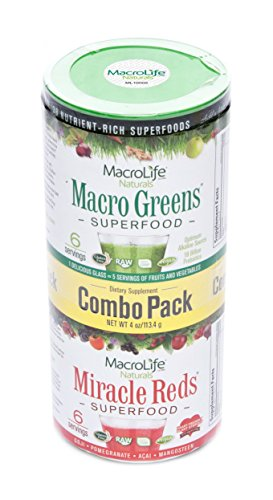 MacroLife Naturals Superfood Macro Greens and Miracle Reds, Combo Pack - 2 Ounces