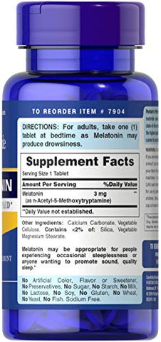Puritans Pride Melatonin 3 mg Tablets, 240 Count