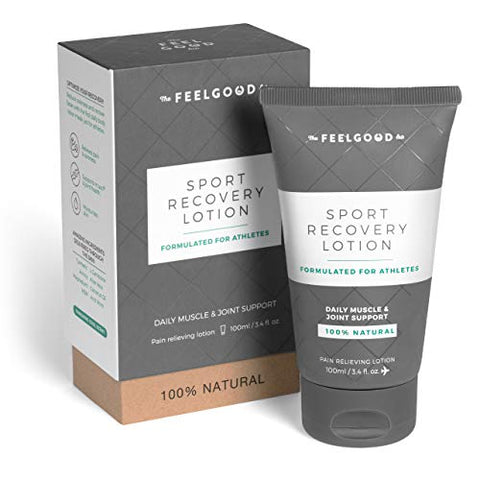Sport Recovery Lotion by The Feel Good Lab - 100% Natural, Clean Ingredients - Recover from Post-Workout Muscle Soreness and Sports Injuries (3.4oz, 4 Count)