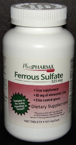 PlusPharma Ferrous Sulfate 325 mg Tablets, 1000 Count