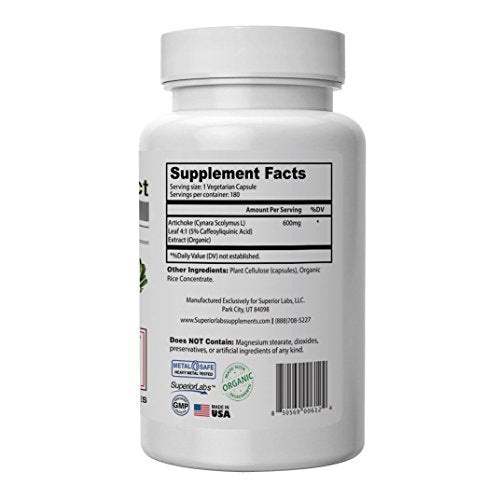 Superior Labs â?? Organic Artichoke Leaf Extract Non Gmo Powerful 5% Caffeoylquinic Natural Dietary S