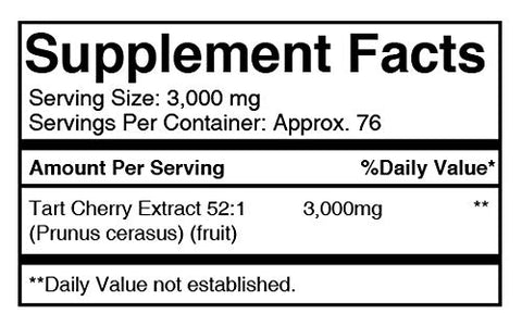 100% Pure Tart Cherry 52:1 Extract, 8 Oz, 3000 Mg Serving, 75 Servings, Non Gmo, Vegan, Gluten Free,