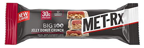 MET-Rx Big 100 Protein Bar, Great as Healthy Meal Replacement, Snack, and Help Support Energy, Gluten Free, 30g of Protein, Jelly Donut Crunch Bar, 9 Count
