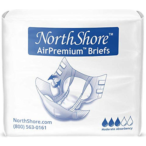 NorthShore AirPremium Tab-Style Briefs for Men and Women, Small, Case/80 (4/20s)