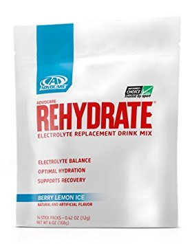 AdvoCare Rehydrate Berry Lemon Ice Single-Serving 14-Pouches 0.42 oz