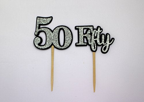 All About Details Black & Silver Fifty Cupcake Toppers, Set of 12