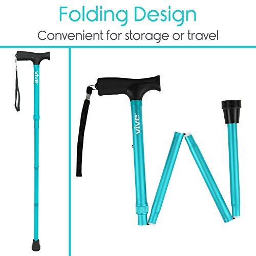 Vive Folding Cane - Foldable Walking Cane for Men, Women - Fold-up, Collapsible, Lightweight, Adjustable, Portable Hand Walking Stick - Balancing Mobility Aid - Sleek, Comfortable T Handles (Teal)