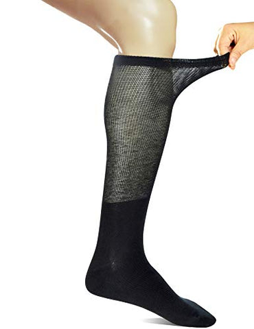 Yomandamor 4 Pairs Mens Over the Calf Compression/Diabetic Dress Socks with Seamless Toe Size 13-15