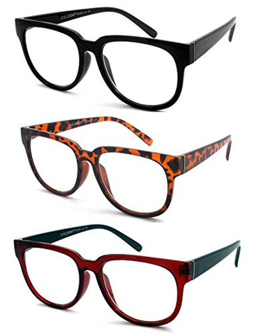EYE ZOOM 3 Pairs Ladies Popular Style Readers Large Frame Retro Reading Glasses for Women, Black, Brown Tortoise and Red, Strength: +2.00
