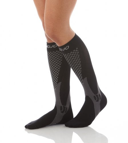 Mojo Compression Socks Unisex Graduate Knee Length | Silver Design | Black 3XL