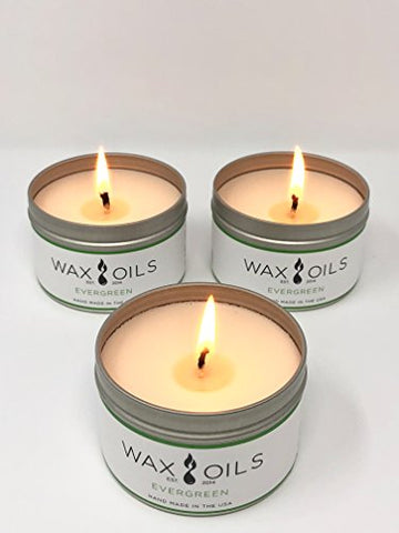 Scented Candles - Evergreen (Pack of 3) Soy Aromatherapy, 8oz