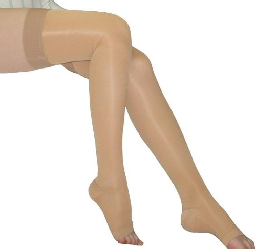 BriteLeafs Sheer Compression Stockings Thigh High 20-30 mmHg, Firm Support, Open Toe, Stay-Up Silicone Band (X-Large, Beige)