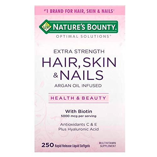 Natures Bounty Optimal Solutions Hair Skin And Nails Argan Oil Infused 5000mcg Of Biotin, 250 Softge