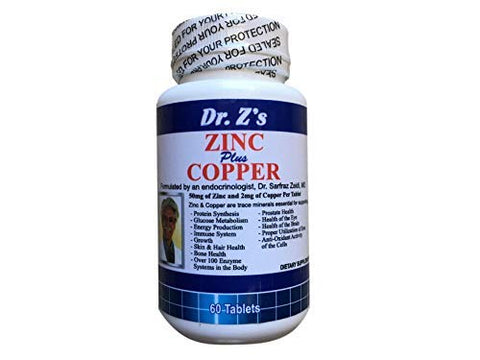 Dr. Z's Zinc Plus Copper - 50 MG of Zinc and 2 MG of Copper - Supports: Energy, Immune System, Skin & Hair, Glucose Metabolism, Eye and Brain - 60 Easy to Swallow Tablets