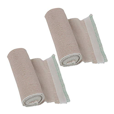 Houseables Elastic Bandage Wrap, Compressions Bandages with Hook & Loop, 13' - 15' Stretched, 2 Pack, Beige, 6
