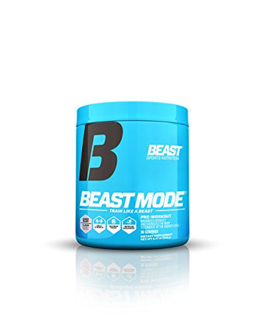 Beast Sports Nutrition Beast Mode Pre-Workout. Creatine & Beta Alanine for Muscle Building, Strength & Pumps. Intense Focus, & Energy. Electrolytes for Endurance & Recovery. 30 Servings, Candy Bla