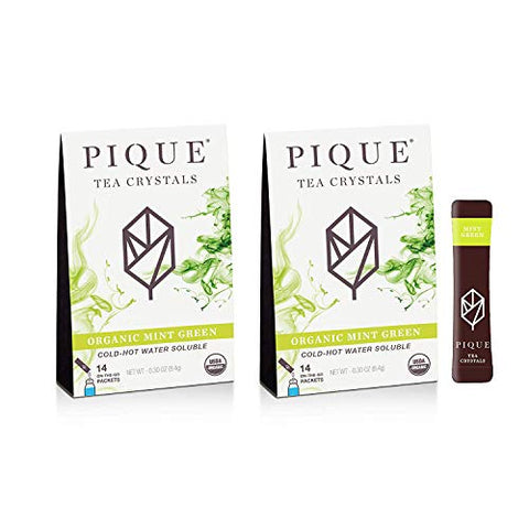 Pique Tea Organic Mint Green Tea Crystals - Gut Health, Fasting, Calm - 28 Single Serve Sticks (Pack of 2)