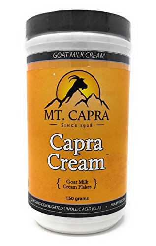 MT. CAPRA SINCE 1928 Capra Cream | Shelf-Stable, Dried Goat Milk Cream Flakes for Coffee, Desserts, Rich and Creamy, High in Medium Chain Triglycerides (MCTs) - 150 Grams