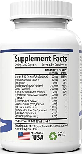 Thyroid Support Supplementâ With Iodineâ   Metabolism, Energy & Focus Formula   Vegetarianâ & Non Gm