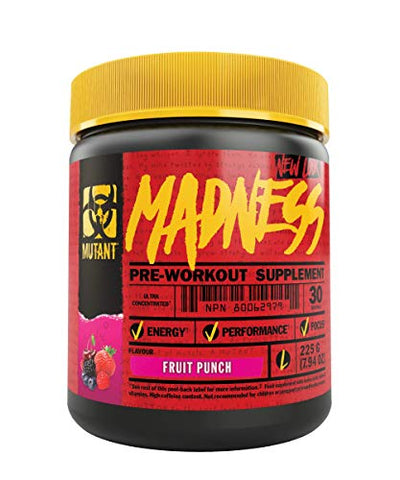 Mutant Madness - Redefines the Pre-Workout Experience and Takes it to a Whole New Extreme Level, Engineered Exclusively for High Intensity Workouts, 225g  Fruit Punch