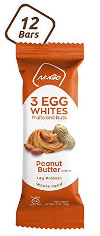 NuGo Egg White Protein, Peanut Butter, 14g Protein, 200 Calories, Fruit and Nut, Gluten Free, 12 Count