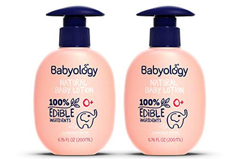 Babyology - 100% Edible Ingredients - Organic Baby Lotion - Clinically Tested - 6,67 FL. OZ - Calming & Rich Moisture for Sensitive Skin - Daily Care - Non-scented - Perfect Baby Shower Gift (2 Pack)