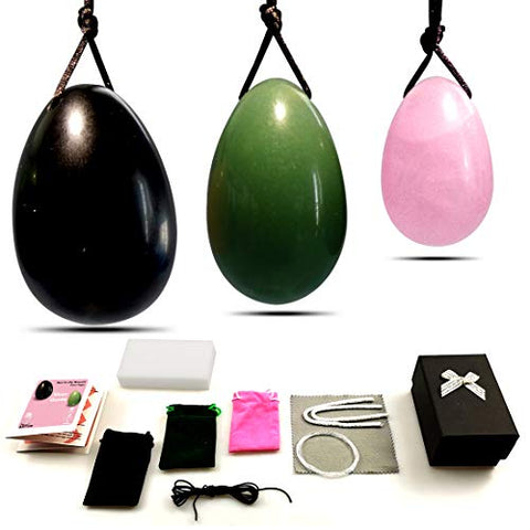 Yoni Eggs for Women Kegel Training?Drilled Genuine Large Obsidian Medium Green Aventurine Jade Small Rose Quartz 3pcs Set, Yoni Pelvic Floor Muscles Massage Exercise, Vaginal Health Care Gift