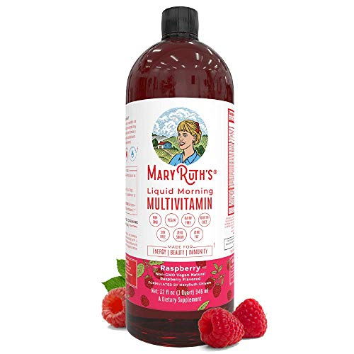 Morning Liquid Vitamins By Mary Ruth's (Raspberry) Vegan Multivitamin A B C D3 E Trace Minerals & Ami