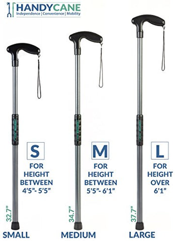 Handy Cane (Medium) All-In-One Walking Aid with Built-In Reacher Grabber