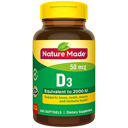 Nature Made Vitamin D3 2000 Iu (50 Mcg) Softgels, 250 Count Everyday Value Size For Bone Healthâ?  (