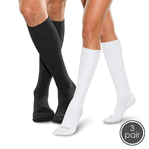 SmartKnit Seamless Diabetic Over-The-Calf Socks- 3 Pack - Small - Black White & White