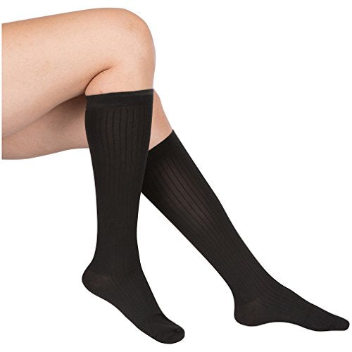 EvoNation Women's USA Made Graduated Compression Socks 15-20 mmHg Moderate Pressure Medical Quality Ladies Knee High Support Stockings Hose - Best Comfort Fit, Circulation, Travel (XL, Black)