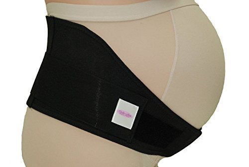 GABRIALLA MS-96i Breathable Cotton Lined Maternity Belt | Back Support |Made in USA |Belly Band for Running & Exercising | Abdominal Pain | Lower Back Pain| Postpartum Recovery: Black Large