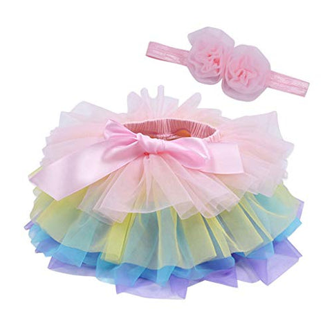 heavKin-Clothes Infant Baby Girls Summer Skirts Tulle Princess Short Tutu Dress +1PC Hair Band (Blue, 1-2Y)