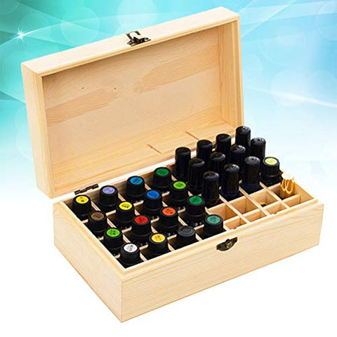 Yardwe Essential Oil Carrying Case Wooden Essential Oil Storage Box Travel Oil Bottle Box 32 Holes