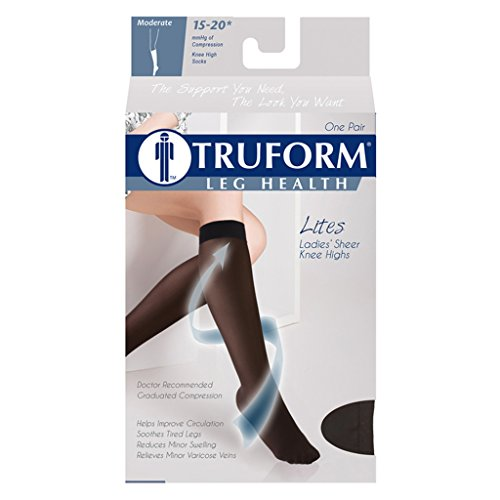 Truform Sheer Compression Stockings, 15-20 mmHg, Women's Knee High Length, Open Toe, 20 Denier, Black, Small