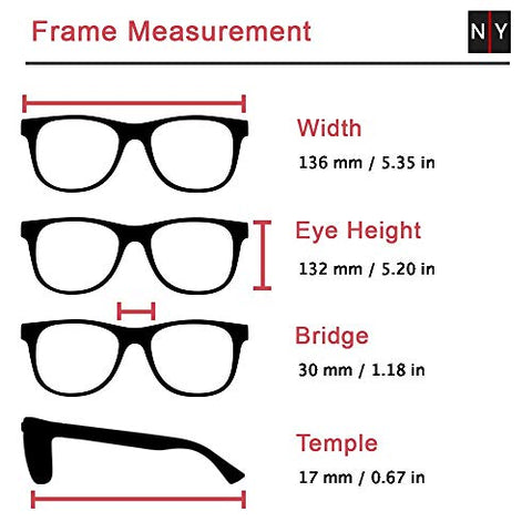 Xena, Premium Reading Glasses, Square Readers Clear Frosted +1.25 to +3 +4 +4.5 +5 +6 High/Strong Magnifying Avail, Black. NY Fifth Avenue