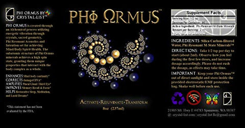 Phi ORMUS - 8-FL OZ (3 Month Supply)- Monoatomic Gold Ormus Concentrate - Intention & Vibration Preset for Prosperity, Wealth, Love, Optimal Health, Vitality, Energy & Balance.