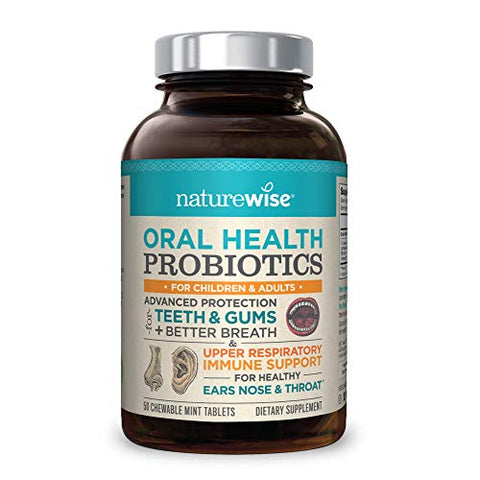 NatureWise Oral Health Chewable Probiotics | Supports Healthy Teeth, Gums, & Better Breath | Ear, Nose, Throat Immunity for Kids & Adults | Sugar-Free Natural Mint Flavor [2 Month Supply - 50 Tablets]