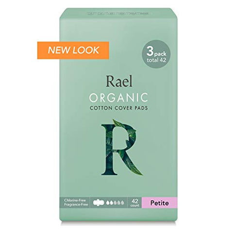 Rael Organic Cotton Sanitary Pads   Petite Size, Light Absorbency, Unscented, Ultra Thin Pads For Wo