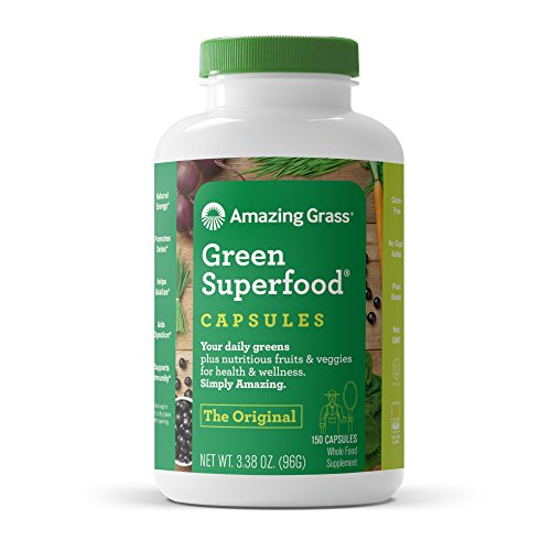 Amazing Grass Green Superfood Capsules: Organic Wheat Grass and 7 Super Greens, 3+ servings of Greens, Fruits & Veggies, 150 Capsules