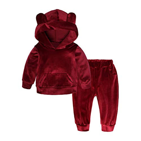Toddler Baby Girls Boys Long Sleeve Little Kids Cartoon Ears Hooded Solid Tops + Pants Casual Outfits Clothes (3-4 Years, Red)