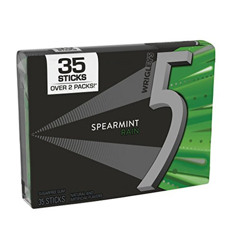 5 Gum Sugarfree Gum, Spearmint Rain, 35 Stick Pack (6 Packs Total)