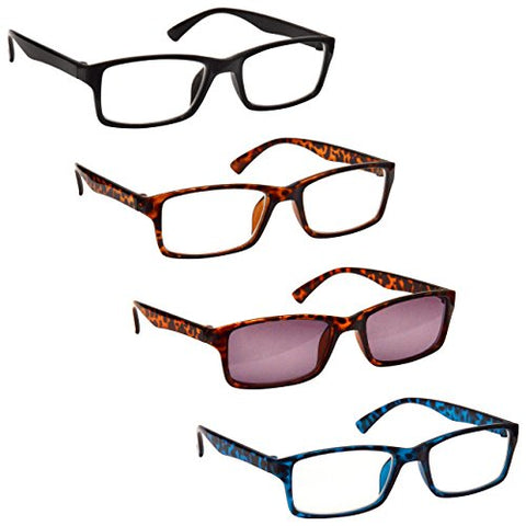 The Reading Glasses Company Black Brown Blue Readers with Brown Sun Reader Value 4 Pack Mens Womens RRRS92-1232 +2.50