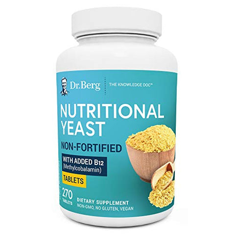 Dr. Berg's Nutritional Yeast Tablets  Non-Fortified Natural B12 Added - All 8 B Vitamin Complex  No Gluten Non-GMO No Synthetics - 270 Vegan Tablets Dietary Supplements