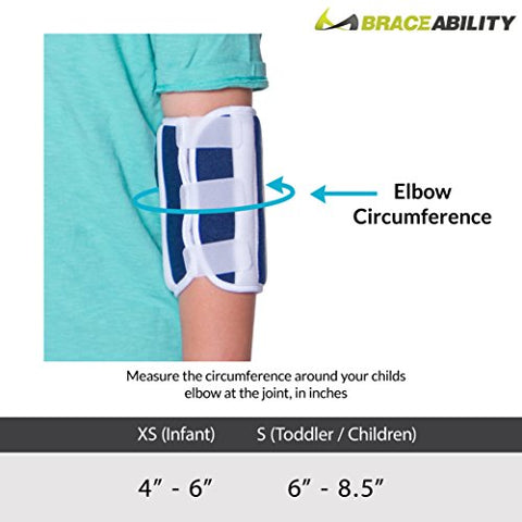 BraceAbility Pediatric Elbow Immobilizer - Arm Restraint Brace and Extension Splint to Keep Arm Straight for Toddlers/Children/Kids (Small)