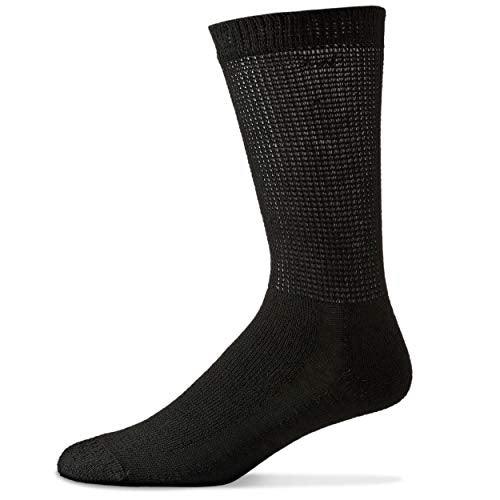 Diabetic Crew Socks For Men   12 Pack   Black   Size 13 15